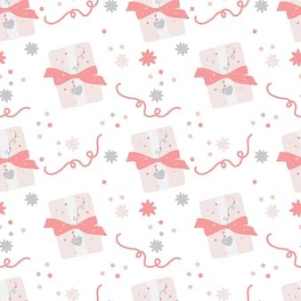 Naadloze patroon met geschenkdoos en confetti