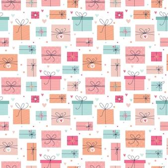 Naadloze patroon met geschenken