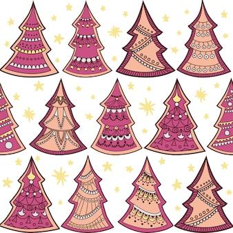 Naadloze patroon met getextureerde kerstbomen.