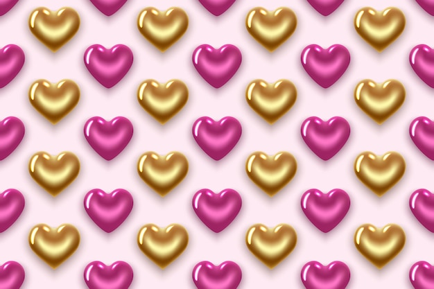 Naadloze patroon met gouden en paarse harten. voor valentijnsdag