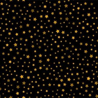 Naadloze patroon met gouden sterren op zwarte achtergrond. vector.