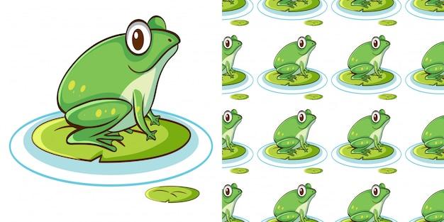 Naadloze patroon met groene kikker op waterlelie