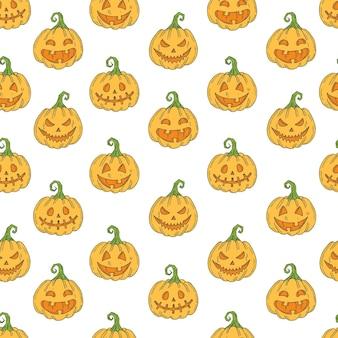 Naadloze patroon met halloween gekleurde pictogrammen op wit. pumpkin jack in schetsstijl.