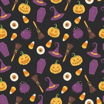 Naadloze patroon met halloween gekleurde pictogrammen. pumpkin jack, heksenhoed, bezem, hoed, snoep, snoepwortels, kist, pot met drankje in schetsstijl.