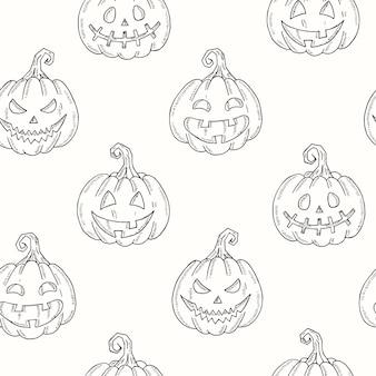 Naadloze patroon met halloween pumpkin jack in schets stijl geïsoleerd op wit. feestelijke textuur voor pakketten, achtergronden, webpagina's