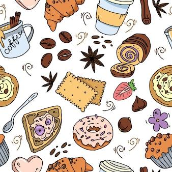 Naadloze patroon met hand getrokken cartoon kopjes koffie en desserts