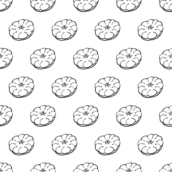 Naadloze patroon met hand getrokken groenten elementen patissons. vegetarisch behang. voor designverpakkingen, textiel, achtergrond, design ansichtkaarten en posters.