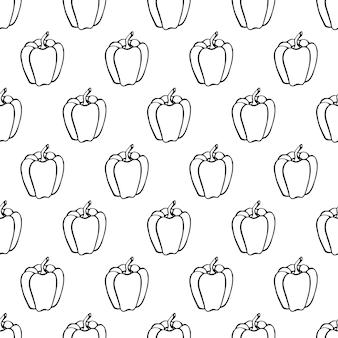 Naadloze patroon met hand getrokken groenten elementen peper. vegetarisch behang. voor designverpakkingen, textiel, achtergrond, design ansichtkaarten en posters.