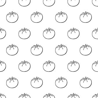 Naadloze patroon met hand getrokken groenten elementen tomaat. vegetarisch behang. voor designverpakkingen, textiel, achtergrond, design ansichtkaarten en posters.