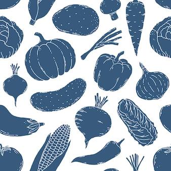 Naadloze patroon met hand getrokken groenten op witte achtergrond