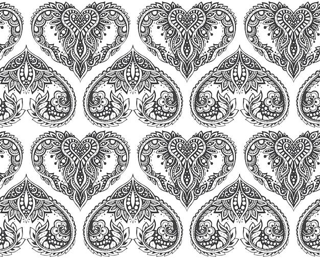 Naadloze patroon met hand getrokken harten in zentanglestijl