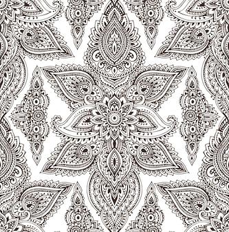 Naadloze patroon met hand getrokken henna mehndi bloemenelementen