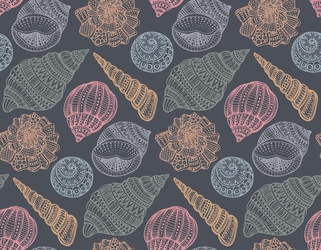 Naadloze patroon met hand getrokken sierlijke schelpen