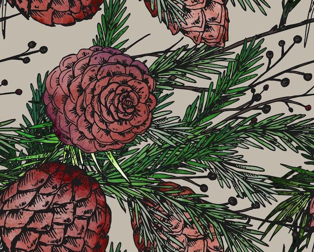 Naadloze patroon met hand getrokken winterplanten.