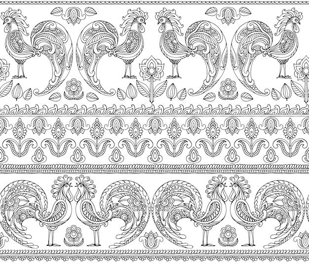 Naadloze patroon met hanen en bloemen
