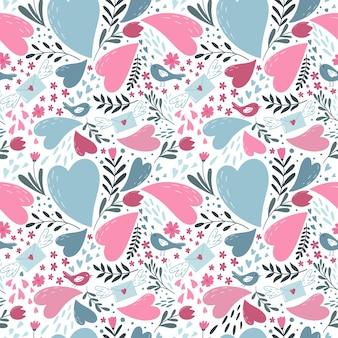 Naadloze patroon met hartjes in doodle stijl.
