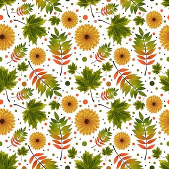 Naadloze patroon met herfst bloemen