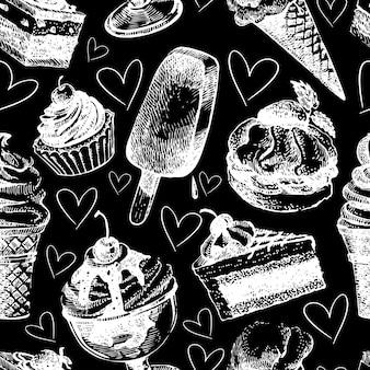 Naadloze patroon met ijs en gebak. hand getrokken schets vectorillustratie