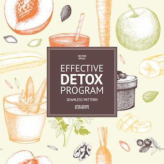 Naadloze patroon met inkt hand getrokken dieet elementen schets. vintage gezond voedsel en detox programma achtergrond.