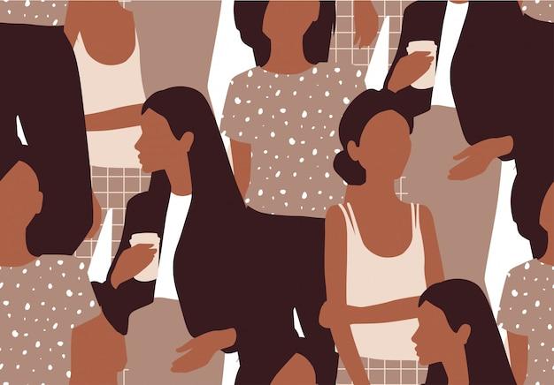 Naadloze patroon met jonge vrouwen in moderne stijl. jonge mensen.