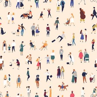 Naadloze patroon met jongeren en ouderen lopen op straat, fiets of skateboard.