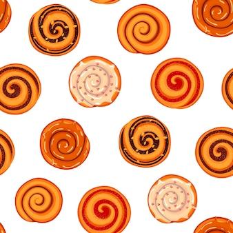 Naadloze patroon met kaneelbroodjes