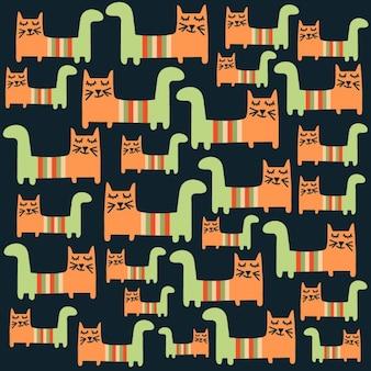 Naadloze patroon met katten