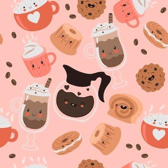 Naadloze patroon met kawaii koffie en snoep.