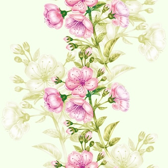 Naadloze patroon met kersenbloesem.