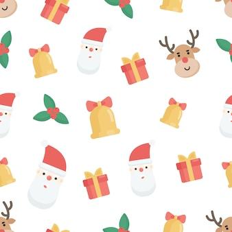 Naadloze patroon met kerst elementen
