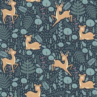 Naadloze patroon met kerst herten op een blauwe achtergrond.