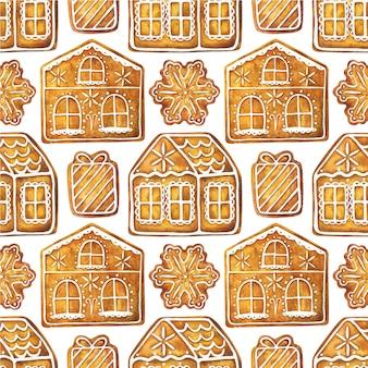 Naadloze patroon met kerst peperkoek huizen. eindeloos ornament met gemberkoekjes