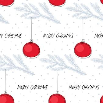 Naadloze patroon met kerstboom bal op vuren tak en inscriptie hand drawn letterimg