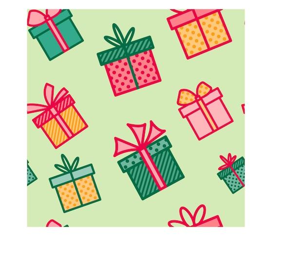 Naadloze patroon met kerstcadeaus kleurrijke achtergrond met huidige dozen seizoensgebonden behang
