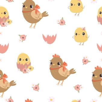 Naadloze patroon met kip en kippen