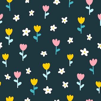 Naadloze patroon met kleine bloemen.