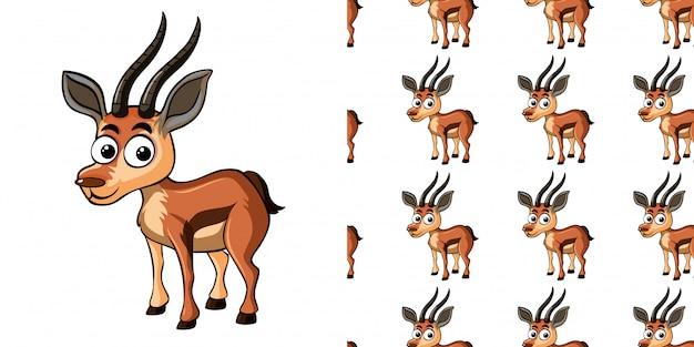 Naadloze patroon met kleine gazelle