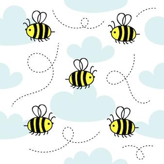 Naadloze patroon met kleine schattige bijen vliegen in de wolken