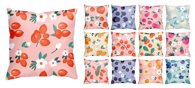 Naadloze patroon met kleurrijke cartoon bessen en bloemen