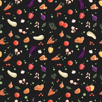 Naadloze patroon met kleurrijke groenten op donkergroene achtergrond