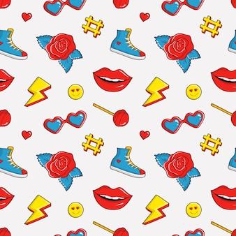Naadloze patroon met kleurrijke patches.