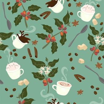 Naadloze patroon met koffie, plant, granen, mokken, lepels, op een groene achtergrond. afbeeldingen.