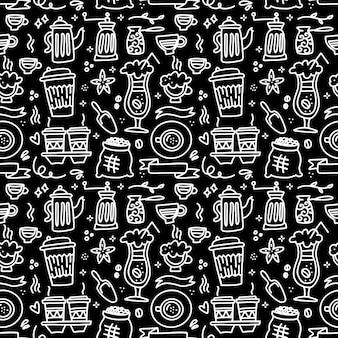 Naadloze patroon met koffie set kopje koffiemolen pot op zwart schoolbord