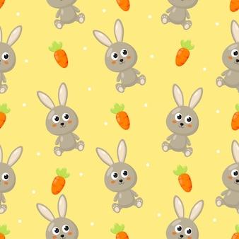 Naadloze patroon met konijn en wortel