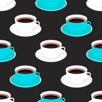 Naadloze patroon met kopje koffie.