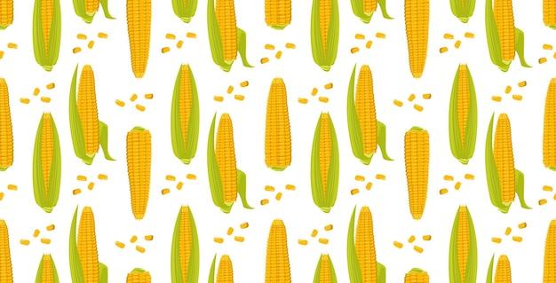 Naadloze patroon met korenaren op een groene achtergrond zomer of herfst gele plantaardige oogst p...