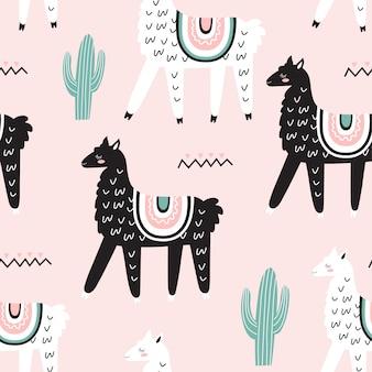 Naadloze patroon met lama's