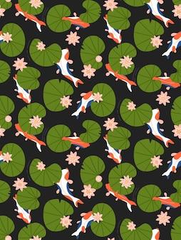 Naadloze patroon met lelie bloemen bladeren en koikarpers in vijver op dark