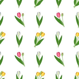 Naadloze patroon met lente bloemen tulpen van verschillende kleuren.