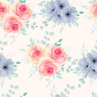 Naadloze patroon met lentebloemen en bladeren